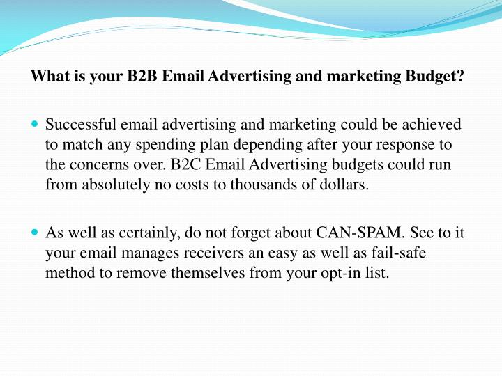 What is your B2B Email Advertising and marketing Budget?