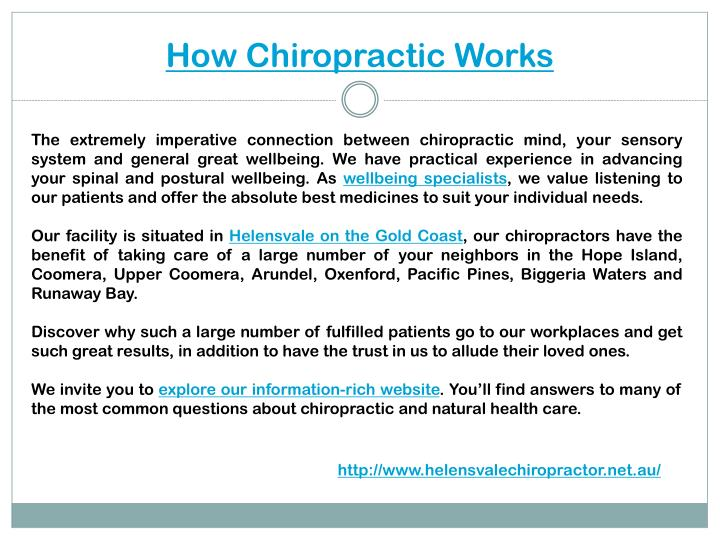 How chiropractic works