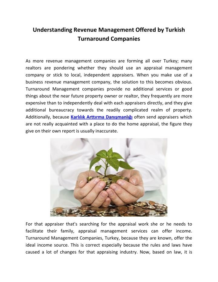 Understanding Revenue Management Offered by Turkish