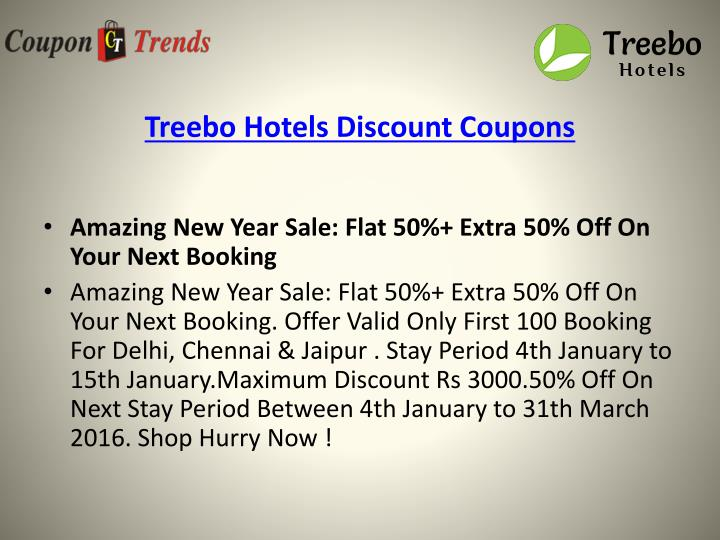 Treebo hotels discount coupons