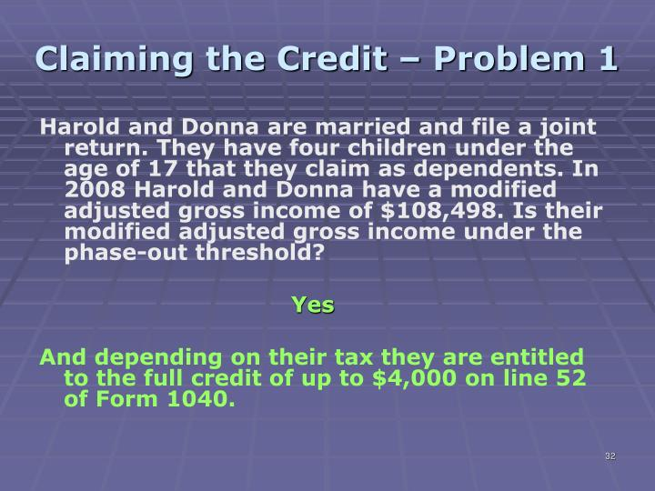 Claiming the Credit – Problem 1