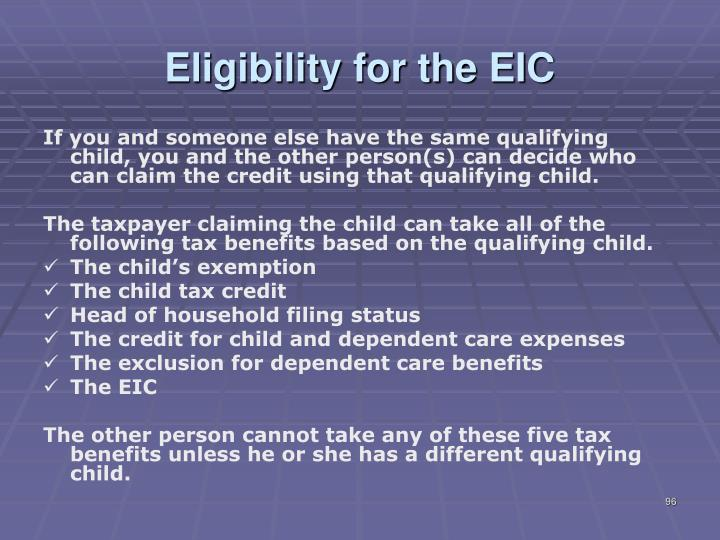Eligibility for the EIC