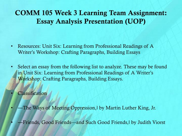 COMM 105 Week 3 Learning Team Assignment: Essay Analysis Presentation (UOP)