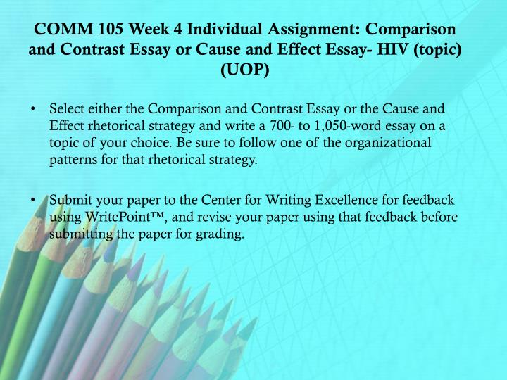COMM 105 Week 4 Individual Assignment: Comparison and Contrast Essay or Cause and Effect Essay- HIV (topic) (UOP)