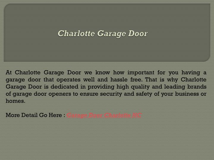 Charlotte Garage Door