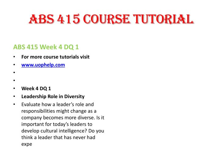 ABS 415 Course Tutorial