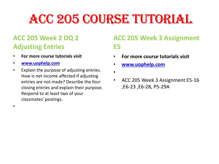 ACC 205 Course Tutorial