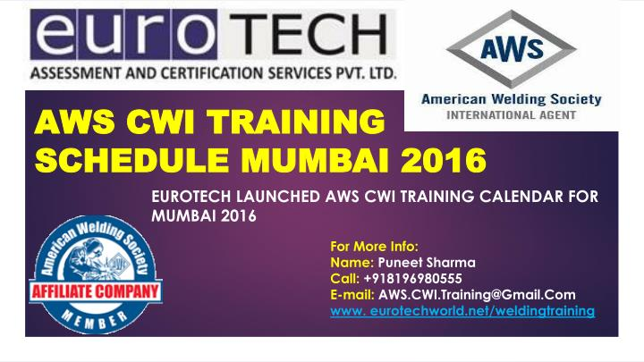 Aws cwi training schedule mumbai 2016