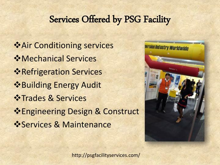 Services offered by psg facility