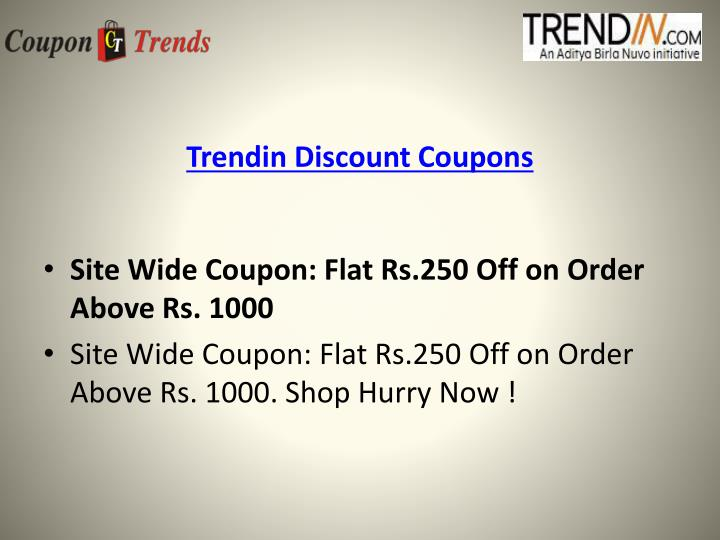 Trendin discount coupons