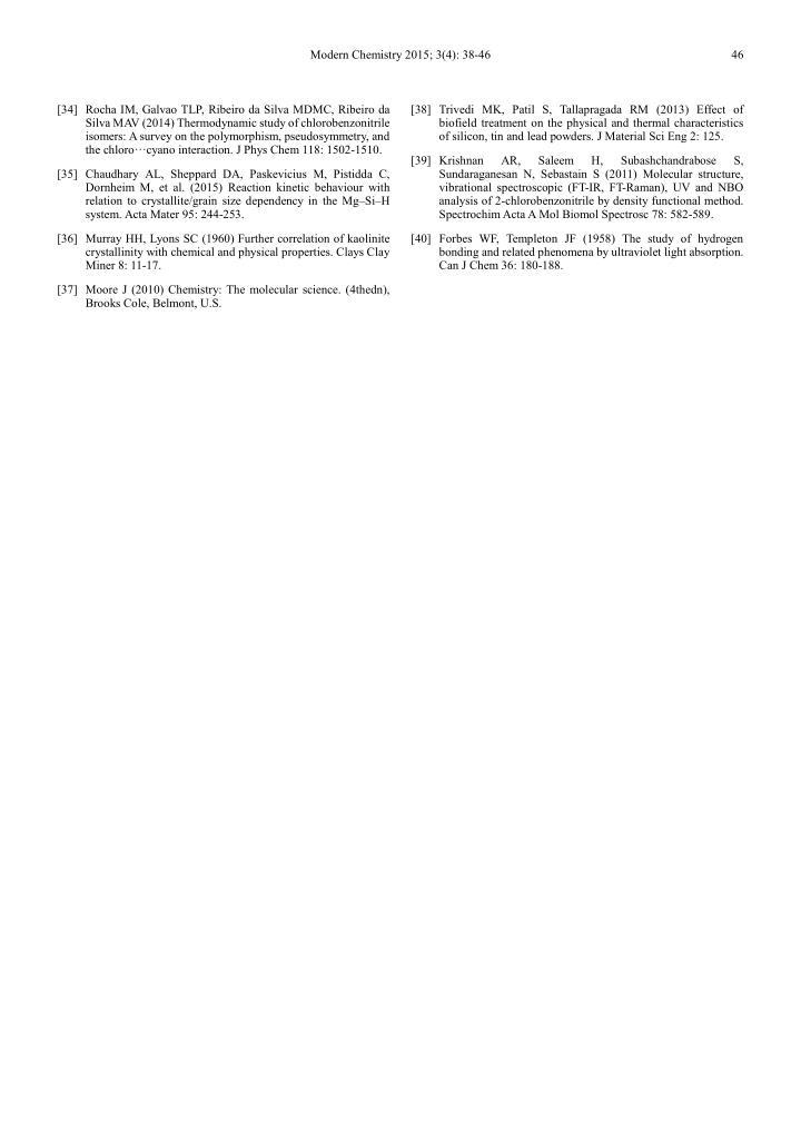 Modern Chemistry 2015; 3(4): 38-46