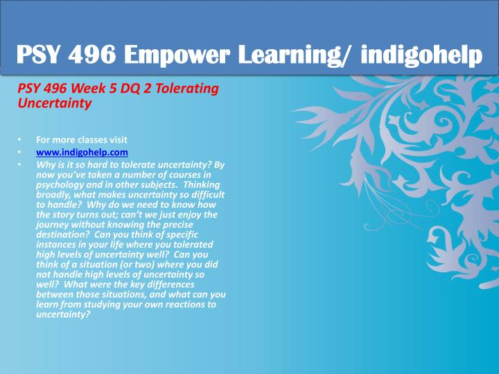 PSY 496 Empower Learning/