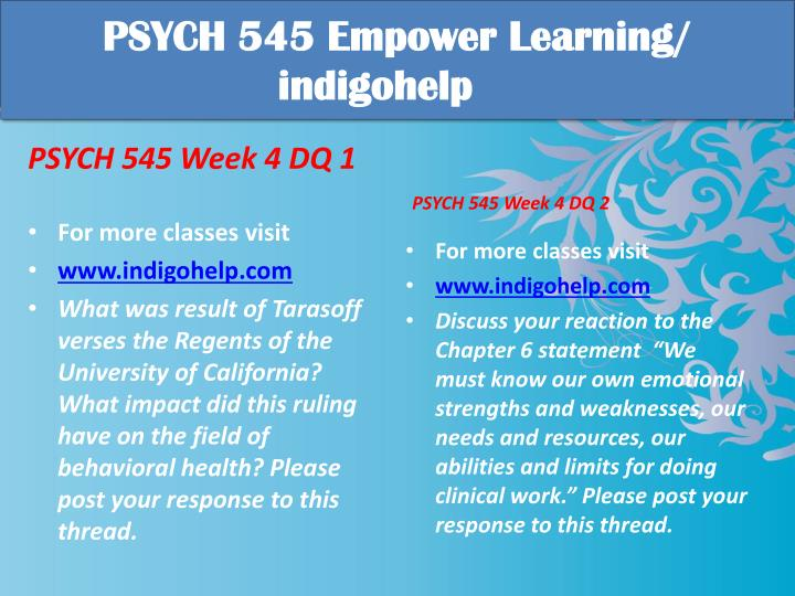 PSYCH 545 Empower Learning/