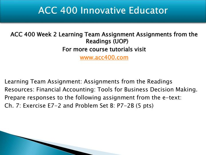 ACC 400 Innovative Educator