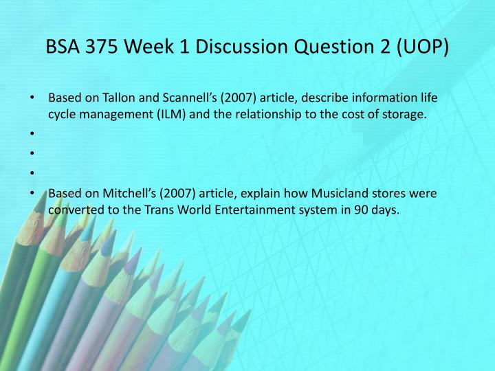 BSA 375 Week 1 Discussion Question 2 (UOP)