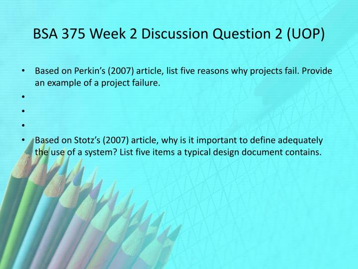 BSA 375 Week 2 Discussion Question 2 (UOP)
