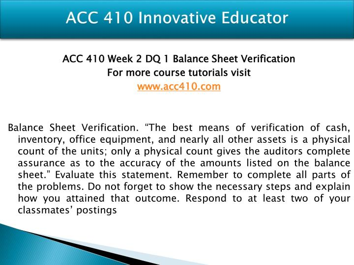ACC 410 Innovative Educator