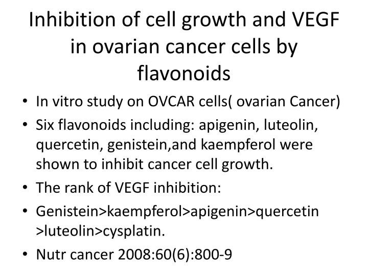 Inhibition of cell growth and VEGF in ovarian cancer cells by flavonoids