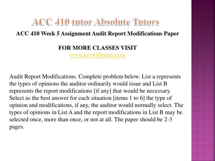 ACC 410 tutor Absolute Tutors
