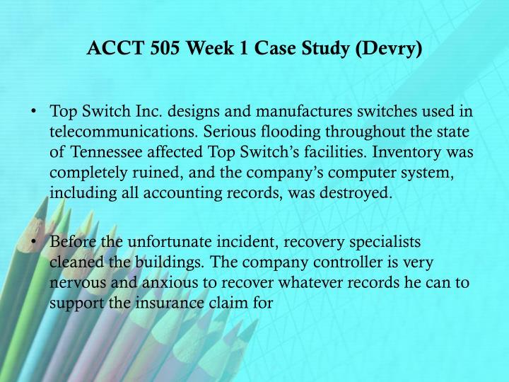 ACCT 505 Week 1 Case Study (