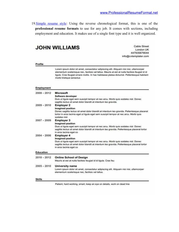 ppt best professional resume formats 2016 you should use