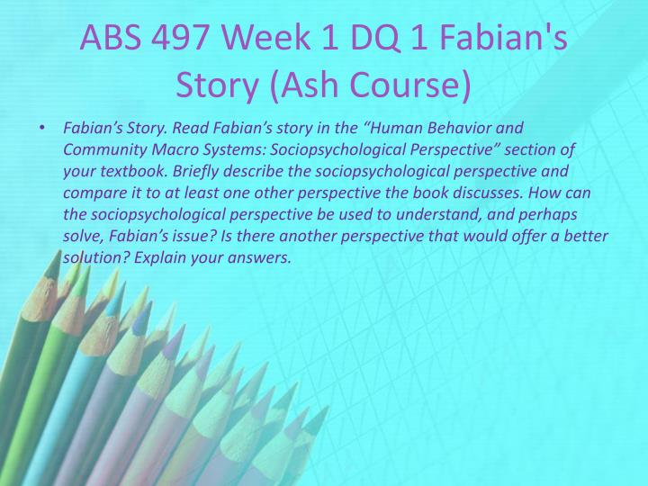 ABS 497 Week 1 DQ 1