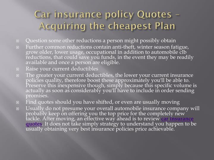 Car insurance policy Quotes – Acquiring the cheapest Plan