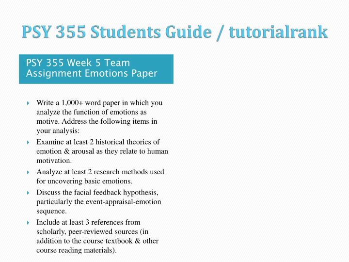 PSY 355 Students Guide / tutorialrank
