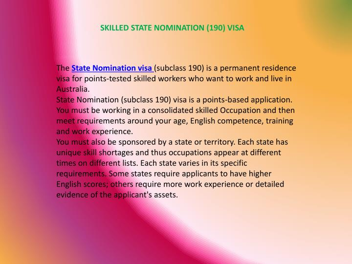 SKILLED STATE NOMINATION (190) VISA