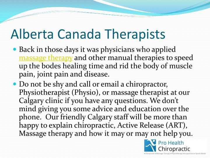 Alberta Canada Therapists