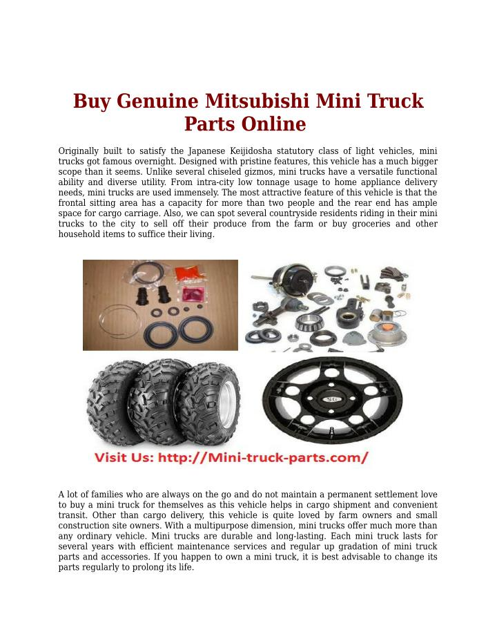 Buy Genuine Mitsubishi Mini Truck