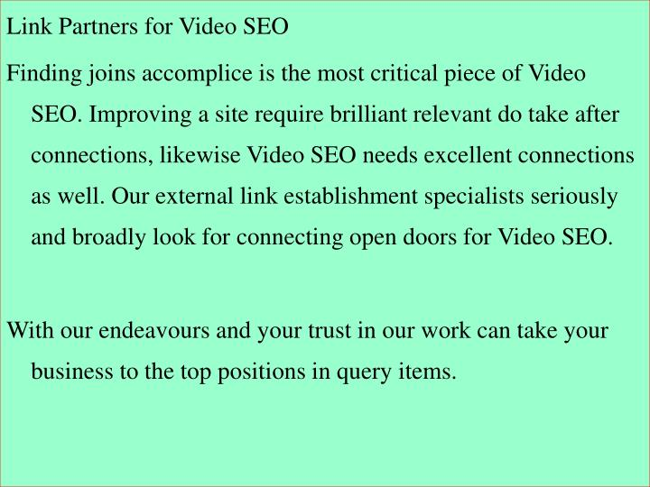 Link Partners for Video SEO