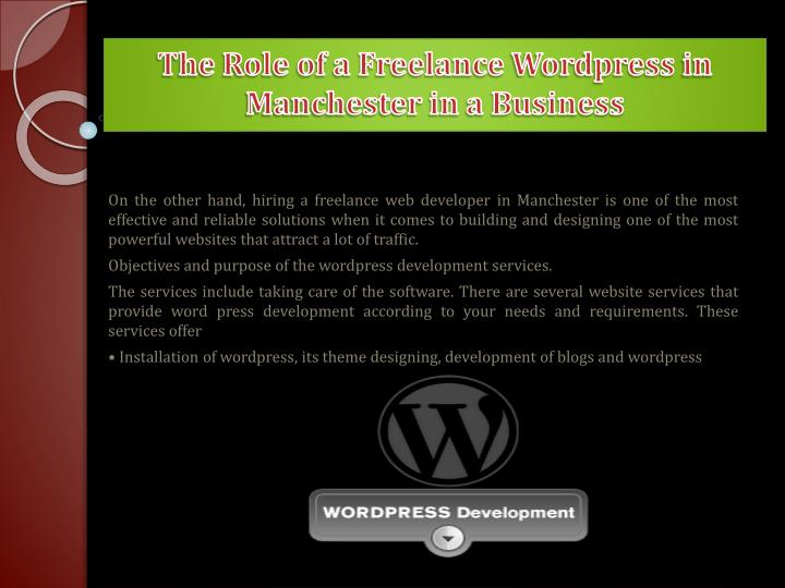 The role of a freelance wordpress in manchester in a business1