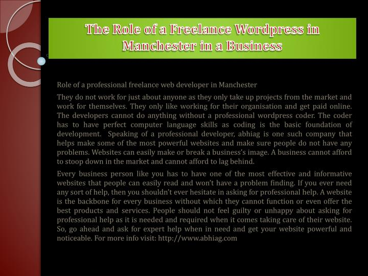 The role of a freelance wordpress in manchester in a business2