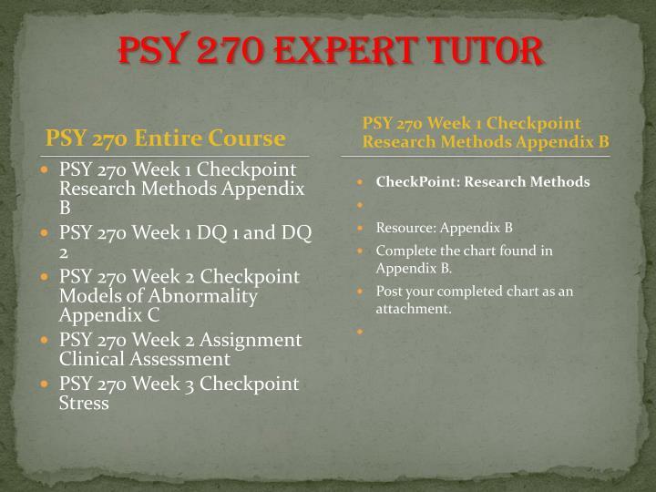 PSY 270 expert tutor