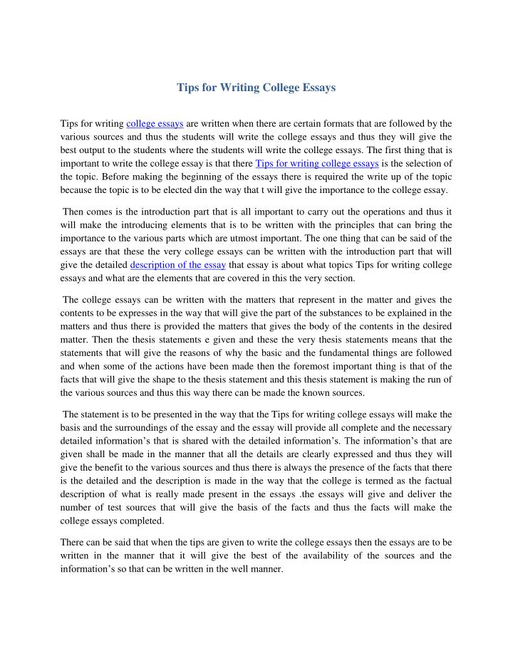 Tips for Writing College Essays