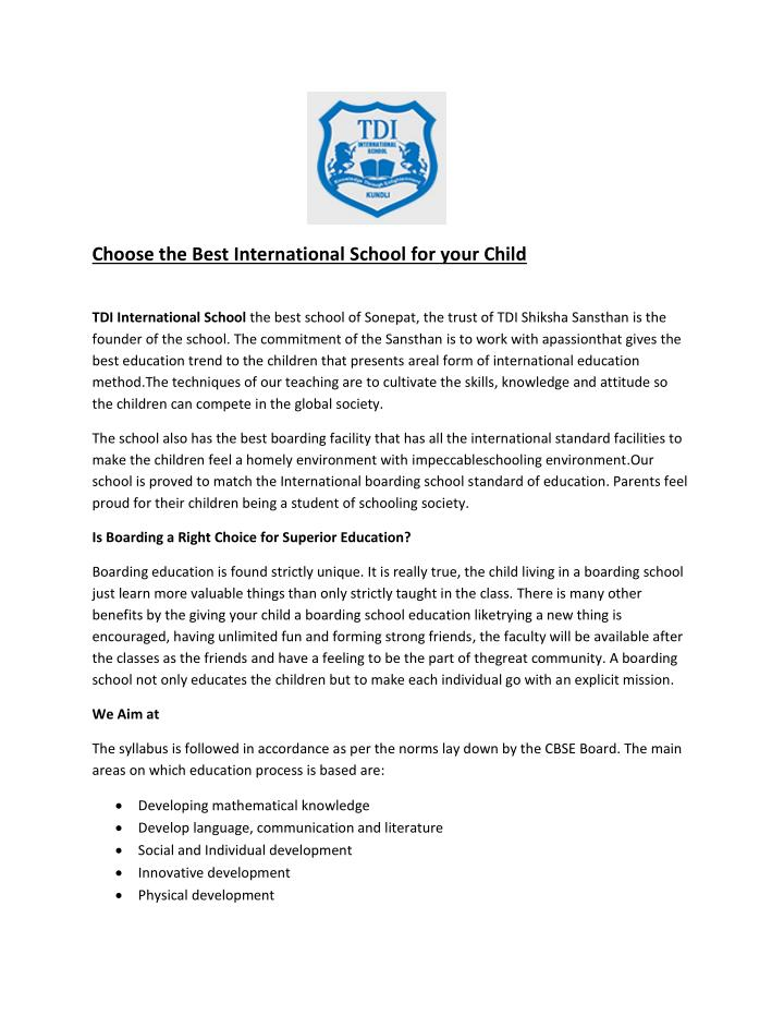Choose the Best International School for your Child