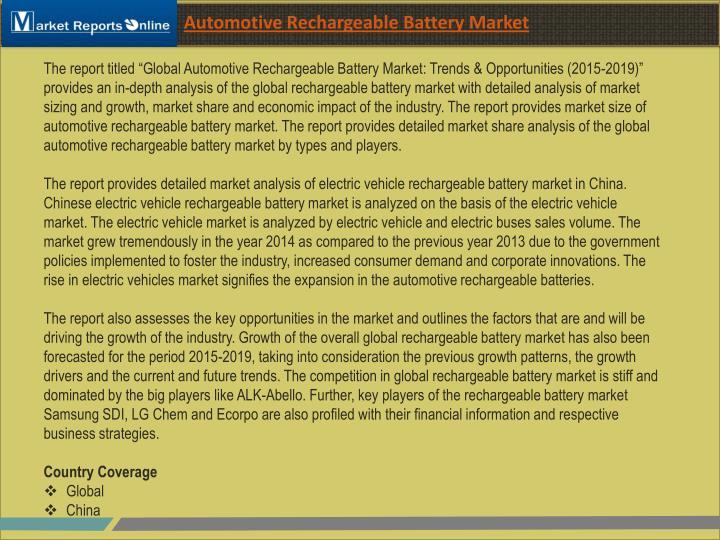 Automotive Rechargeable Battery Market