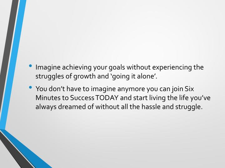 Imagine achieving your goals without experiencing the struggles of growth and 'going it alone'.