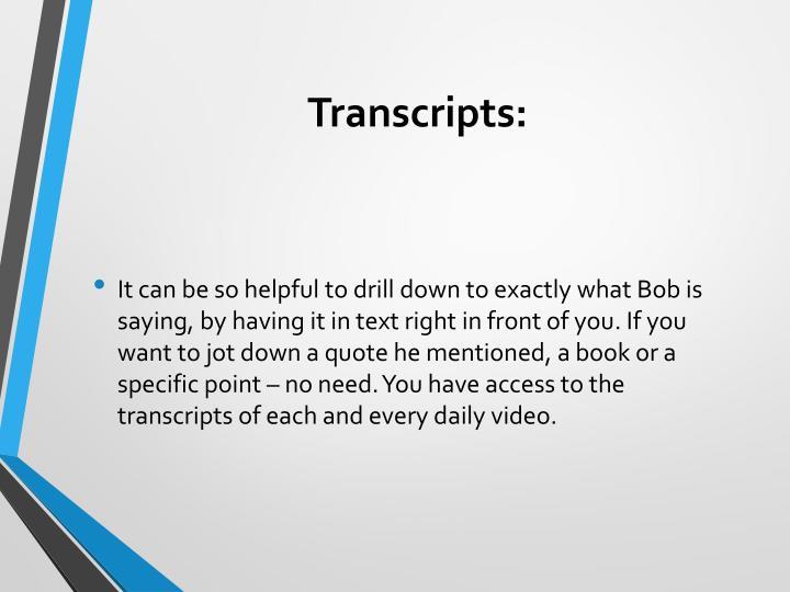 Transcripts: