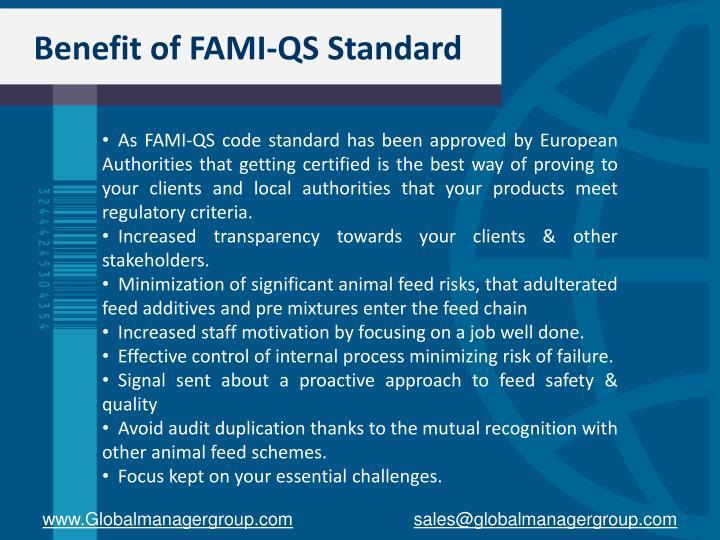 Benefit of FAMI-QS Standard