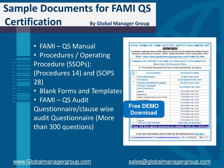 Sample Documents for FAMI QS Certification