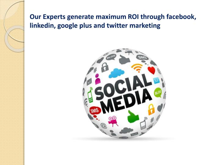 Our Experts generate maximum ROI through