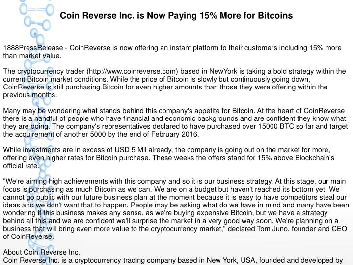 Coin Reverse Inc. is Now Paying 15% More for Bitcoins