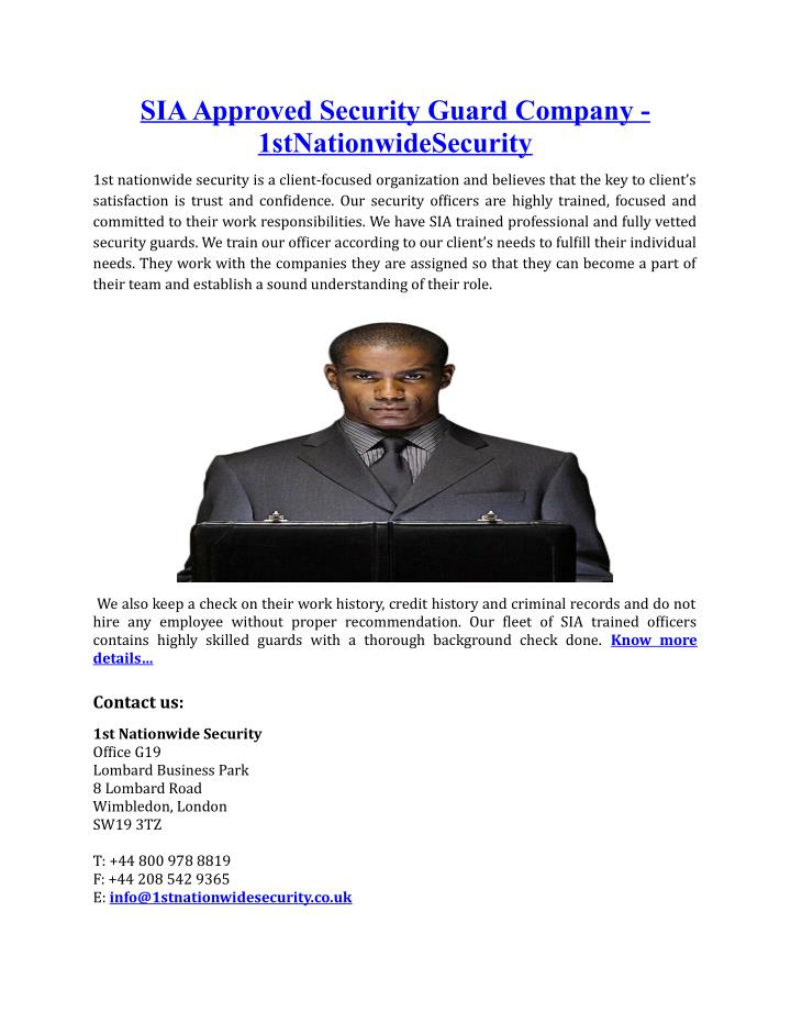 SIA Approved Security Guard Company -