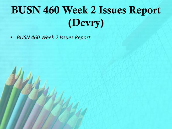 BUSN 460 Week 2 Issues Report (