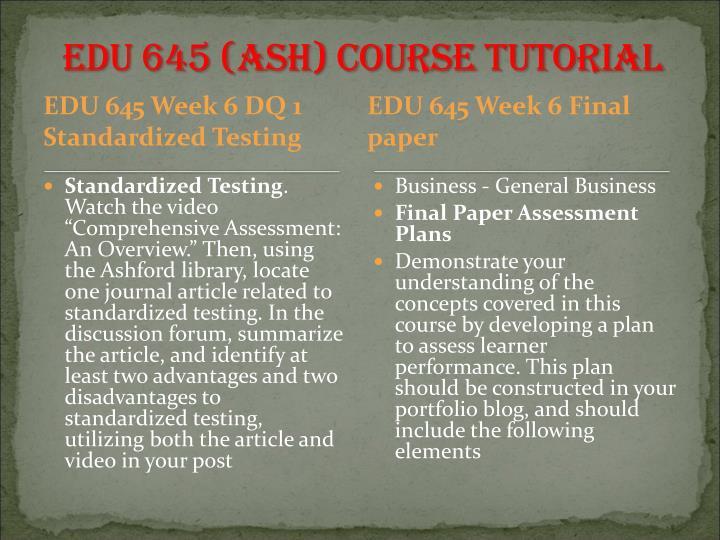 EDU 645 (ASH)