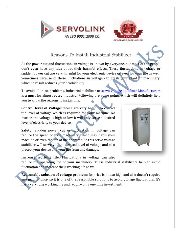 Reasons To Install Industrial Stabilizer