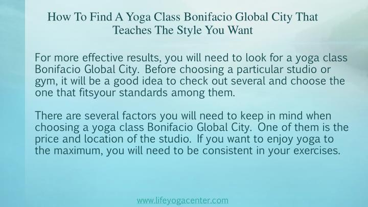How to find a yoga class bonifacio global city that teaches the style you want2