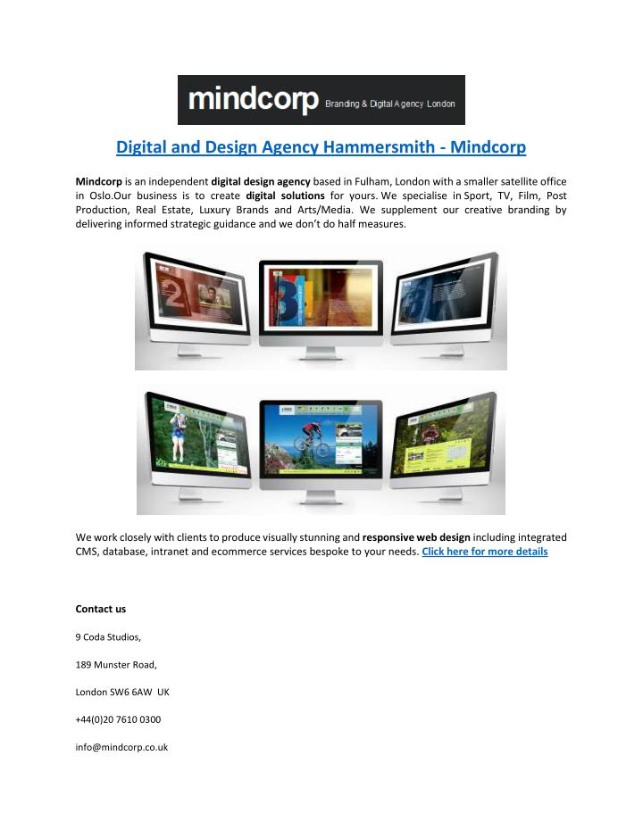 Digital and Design Agency Hammersmith - Mindcorp